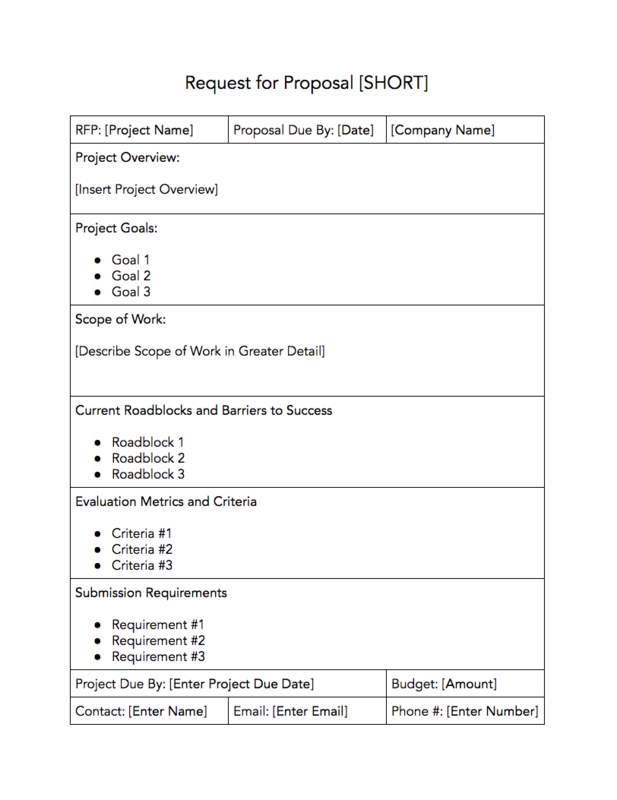 RFP Templates | Download Free Request For Proposal Templates