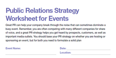 Public Relations Strategy Worksheet for Events